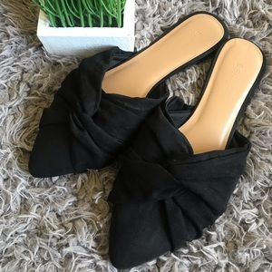 Black twisted faux suede knot slip on mule slides